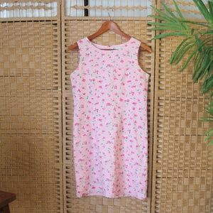 90s Y2K Pink Floral Shift Dress Sz S